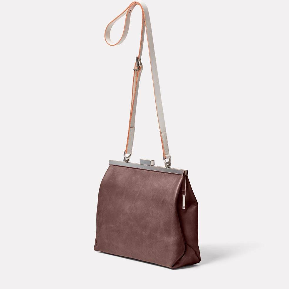Maxine Leather Frame Crossbody Bag in Brown/White