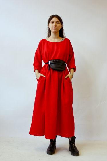 Платье льняное, красное