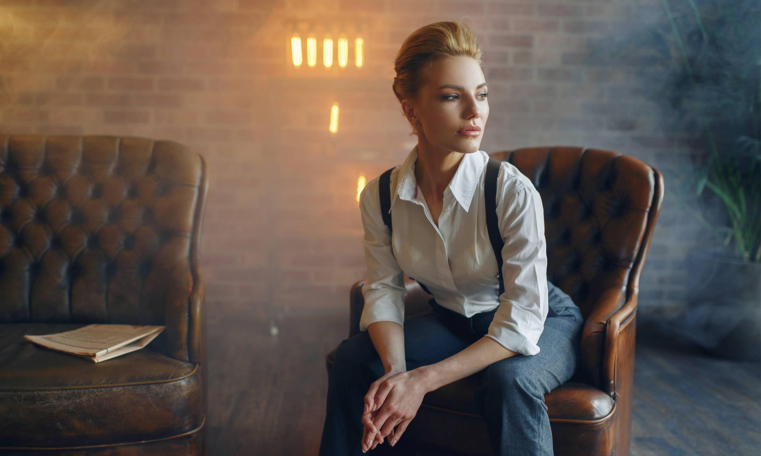 Woman Wearing Suspenders