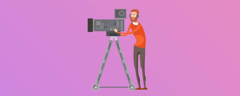 Cameraman with a video camera on a tripod