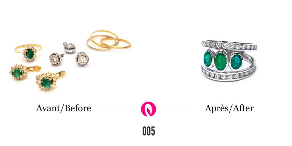 Boucles d'oreilles, bagues, anneaux en or avec des émeraudes et des diamants transformées en une seule bague en or blanc à deux corps de bague pavés de diamants reliés par trois émeraudes en sertis clos.