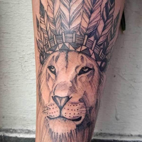 Tatouage Lion Indien