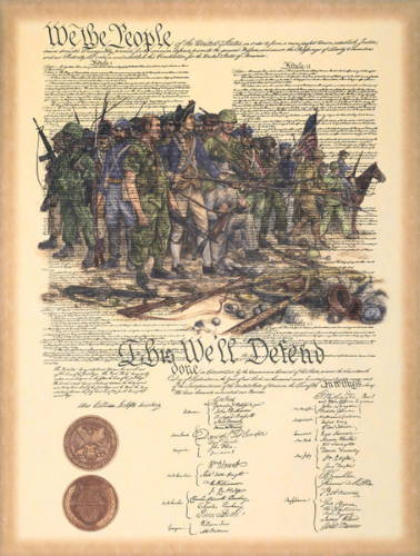 The Constitution of the United States overlayed with a painting of US soldiers throughout time.