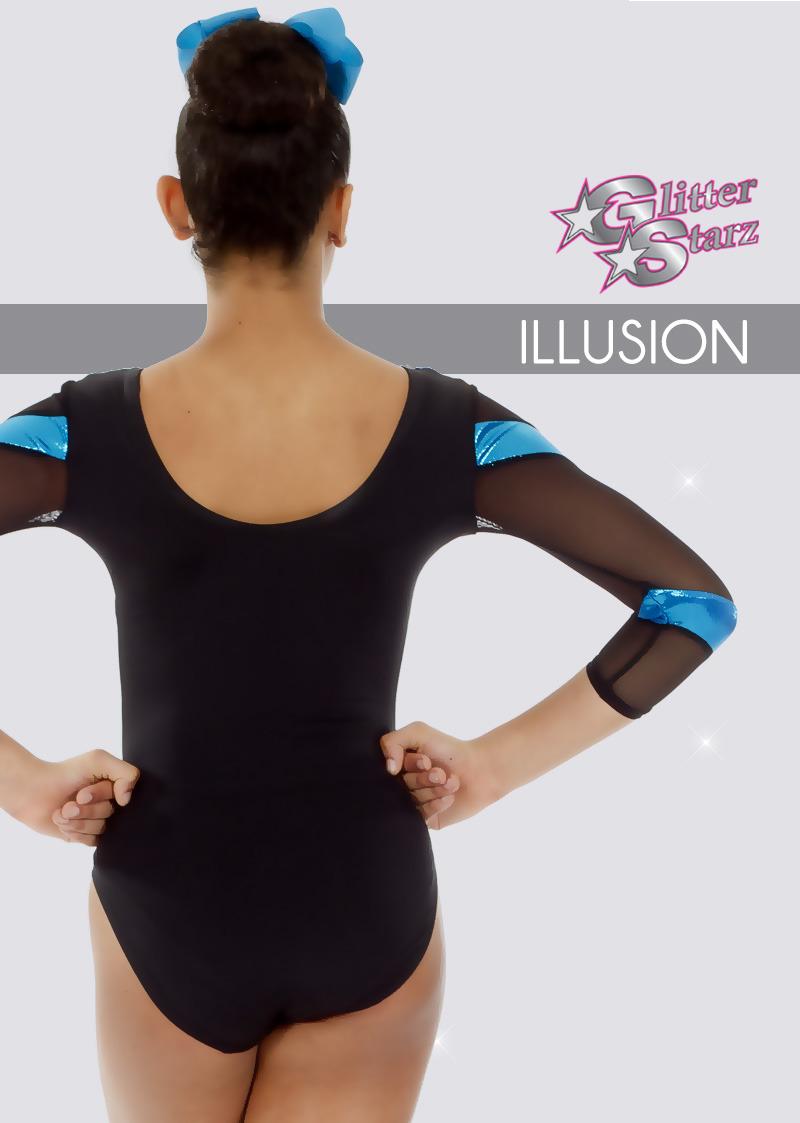 glitterstarz custom leotard illusion blue black colorblock cutout with mesh custom bling gymnastics