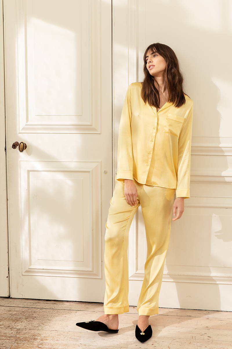 YOLKE's Sunshine Yellow Classic Silk Pyjamas is part of the SS21 Core Collection