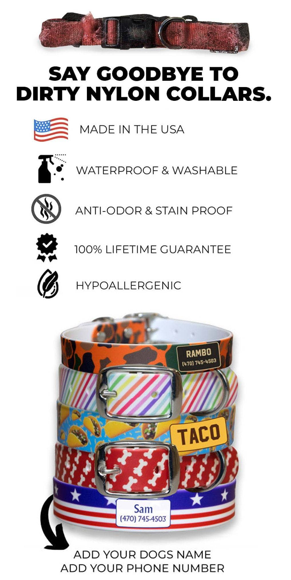 Stack of customized c4 dog collars