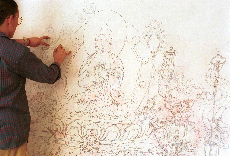 A Thangka Painter at Work