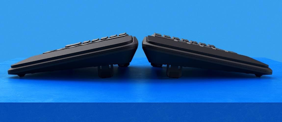 zergo freedom ergonomic keyboard front view blue