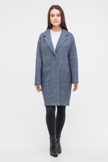 Пальто-кокон серо-синего цвета