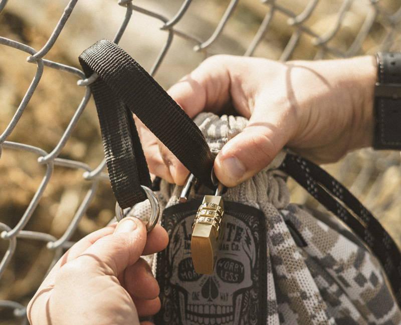 Lockable anti-theft badass drawstring bag