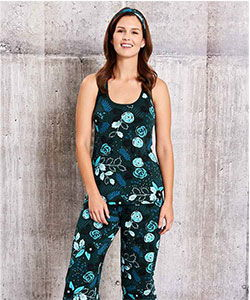 Model in sleeveless Tessa Flower bamboo pajamas from This is J