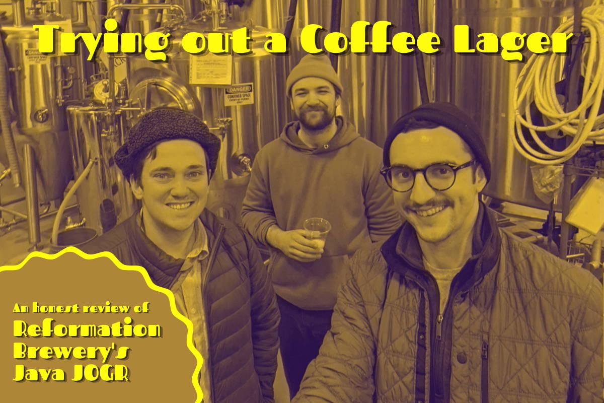 Blog header: three men standing in front of a beer vault