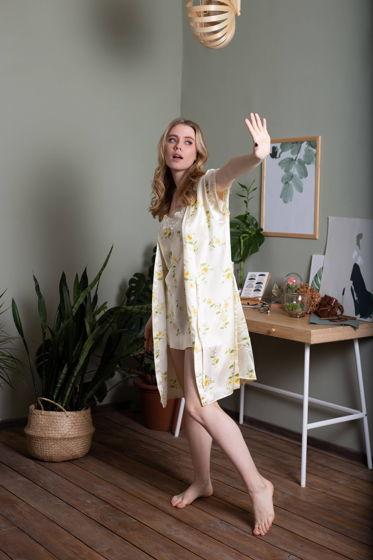 Женский шелковый комплект халат и комбинация с кружевом