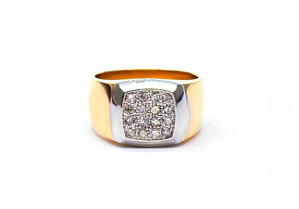 Two tone gold signet ring with small diamonds