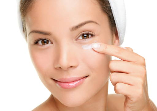 Gently massage a small amount of the cream into a cleansed eye area skin