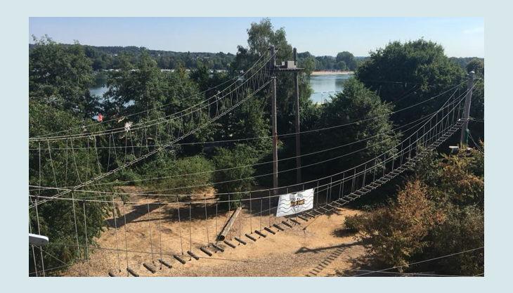 querfeldein hochseilgarten hängeseilbrücken blick auf unterbacher see