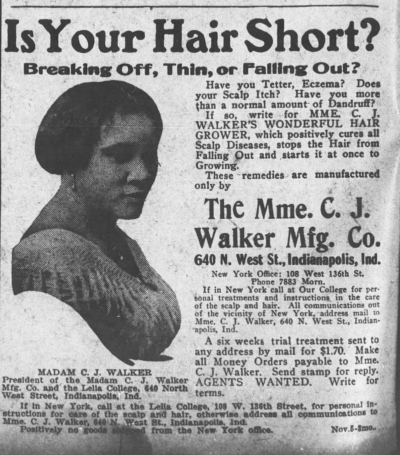 madam c j walker black hair success
