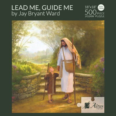 Box cover of 500 piece puzzle featuring a painting of Jesus walking with a young shepherd boy.