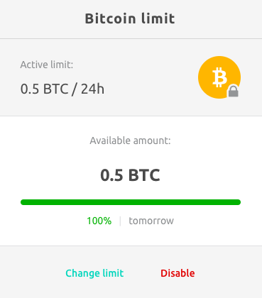 bitcoin limit is being set