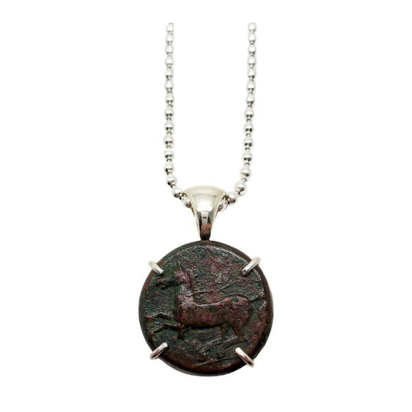 Ancient Bronze Greek Coin with Horse and Griffin set in Silver