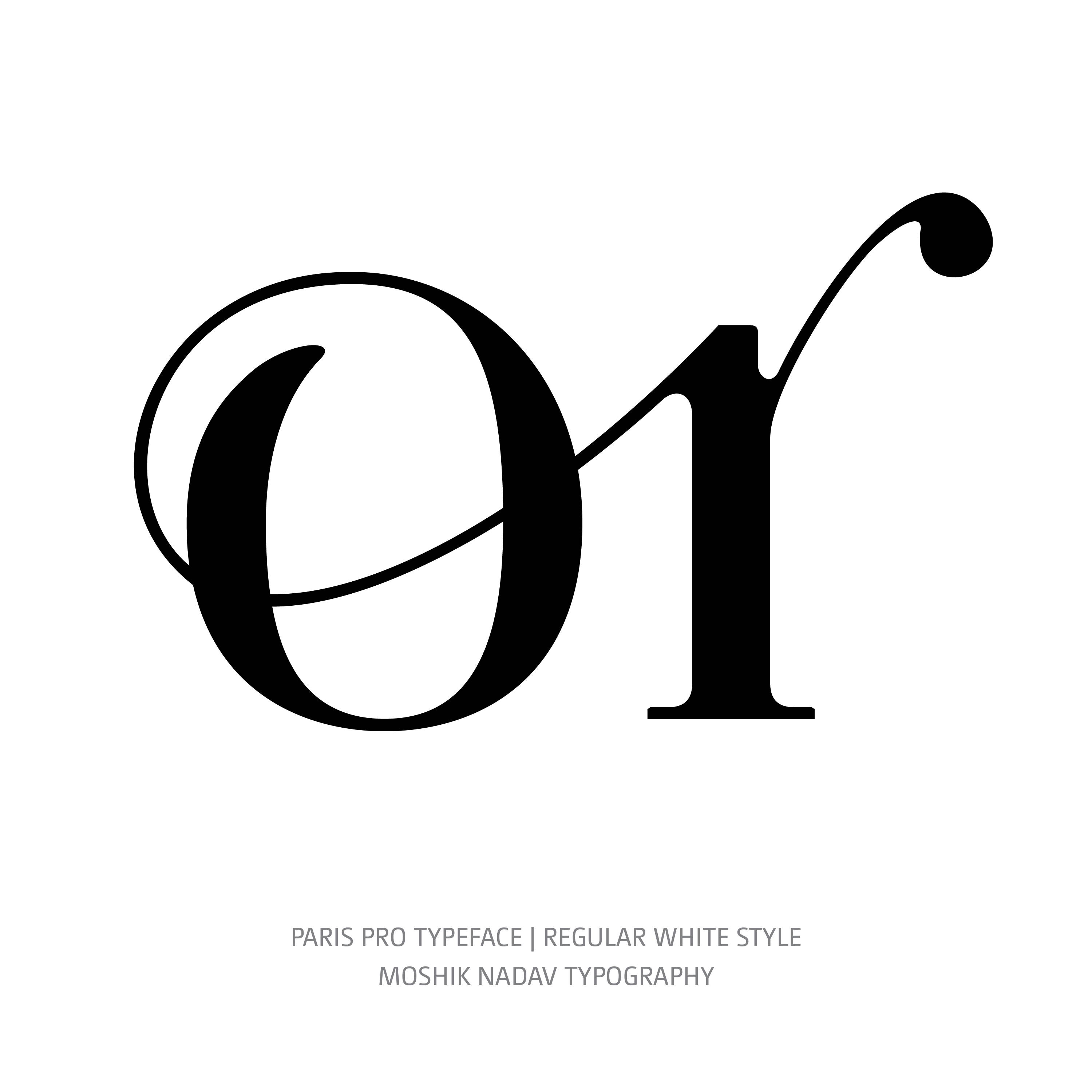 Paris Pro Typeface Regular White or ligature