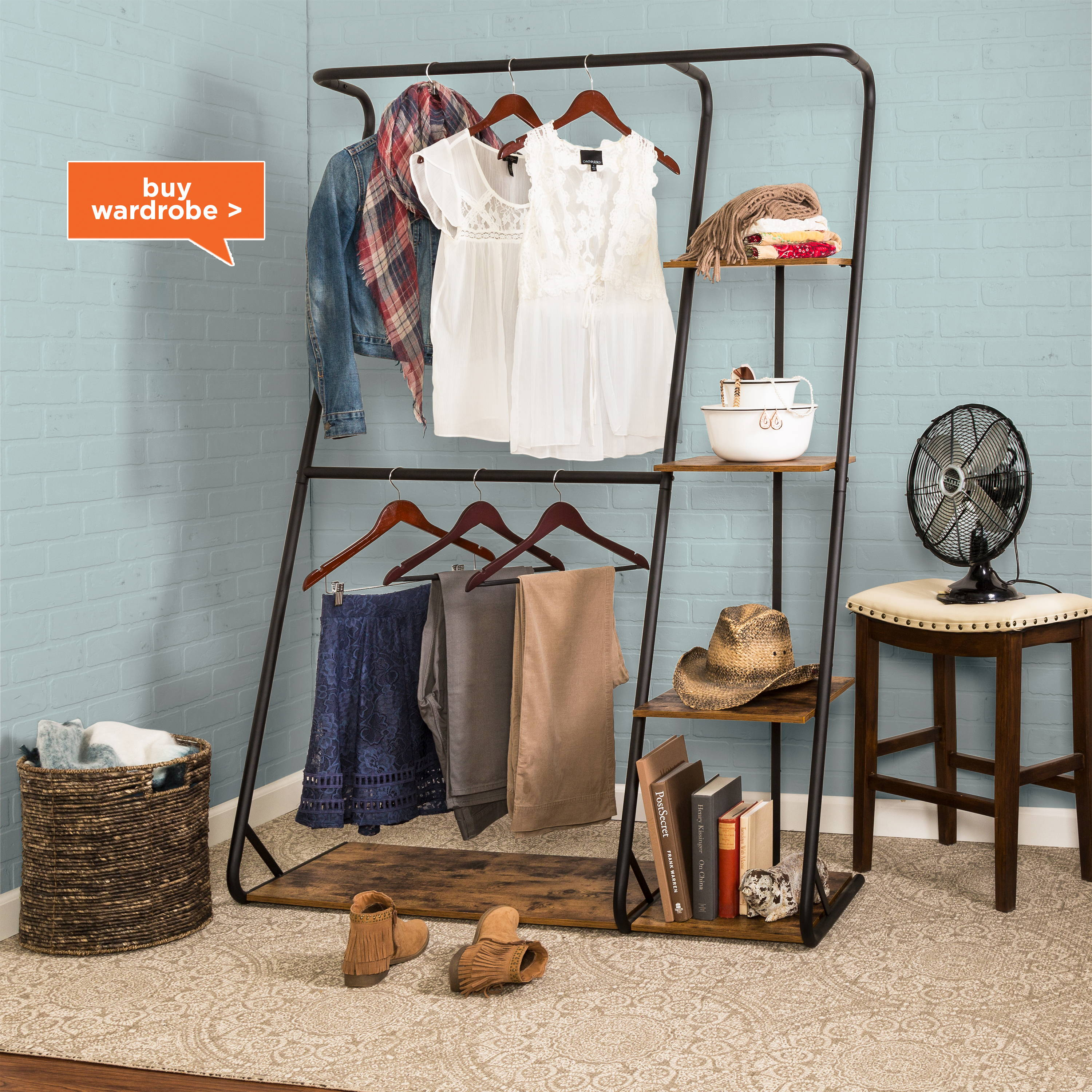 z-frame wardrobe with shoe rack and shelves