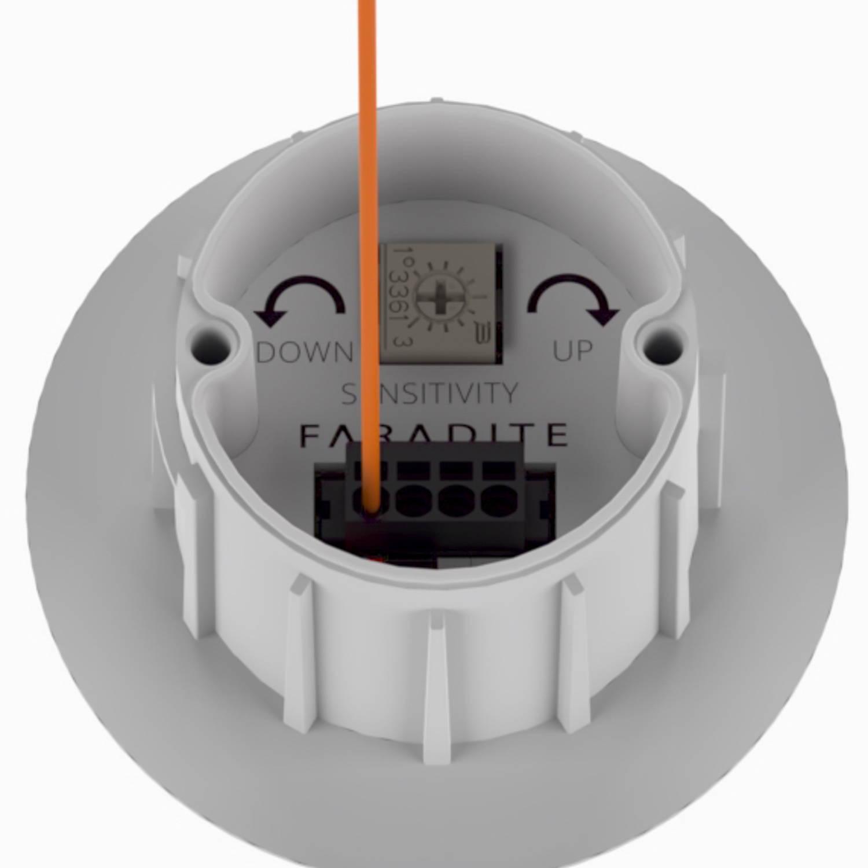 Détecteur de mouvement 360 IP67 Faradite blanc à câble connecté à contact sec