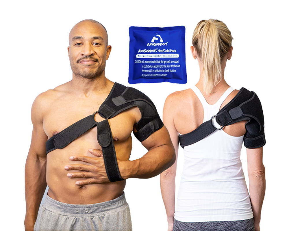 shoulder brace optional arm sling fron and back with hot cold pack