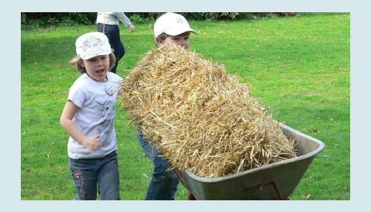 zoo krefeld kinder spielen mit heu