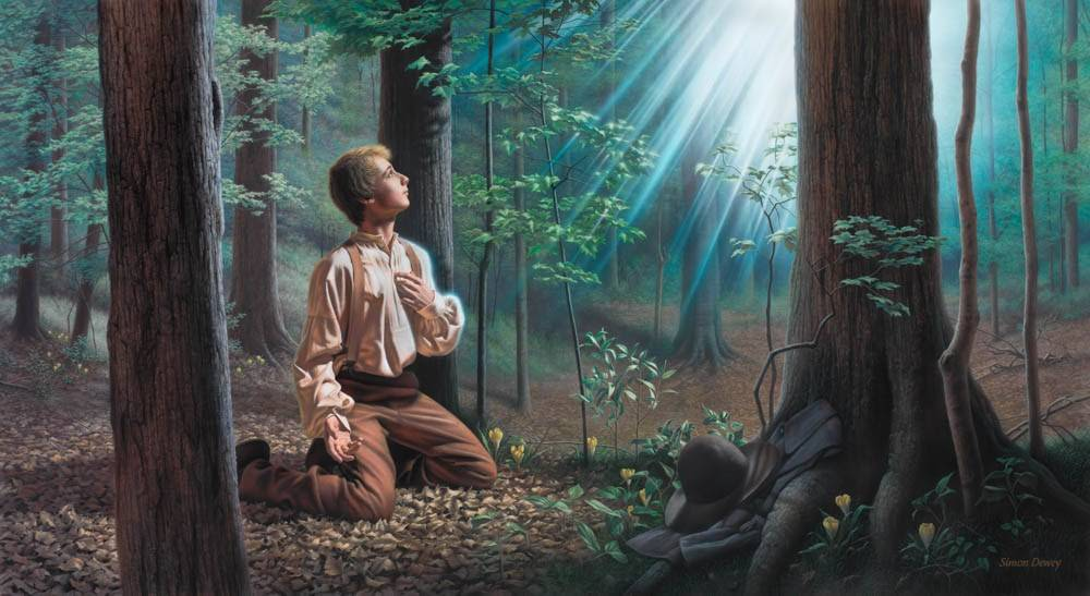 LDS art painting of Joseph Smith's First Vision. He is kneeling on the forest floor, looking up toward Heaven at a light.
