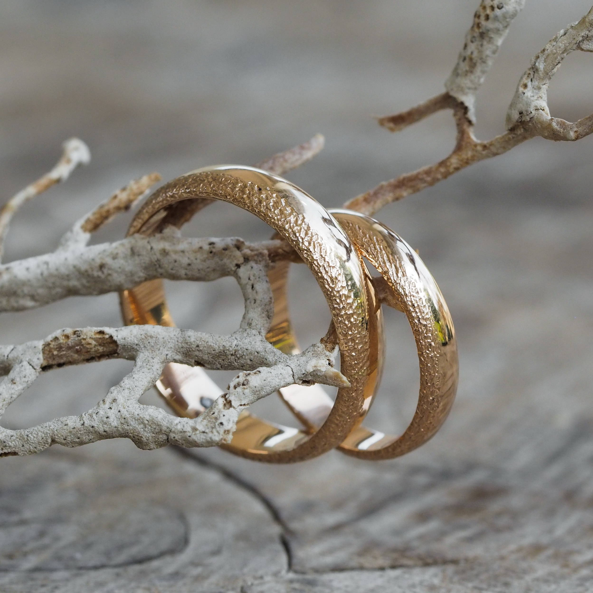 Gold Wabi Sabi Wedding Bands with unique one of a kind patterns.