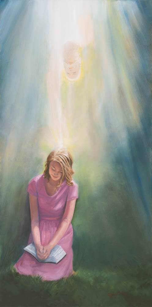LDS art painting of an angel blessing a young woman who is reading the scriptures and praying.