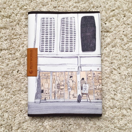Блокнот с обложкой из искусственной кожи, рисунок дом в парке