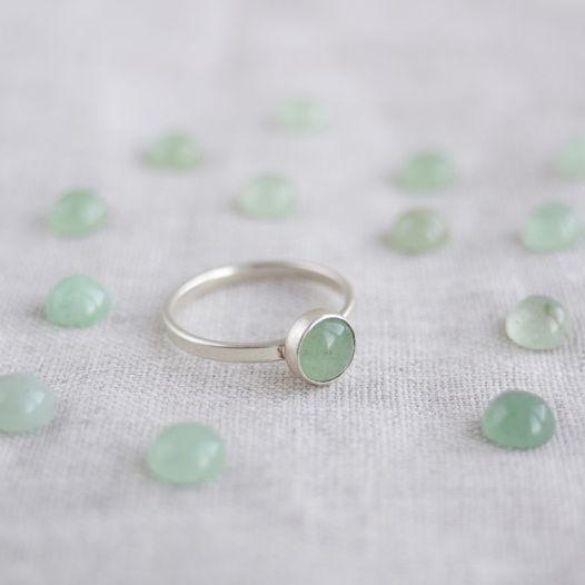 Кольцо из серебра с камнем. Авантюрин