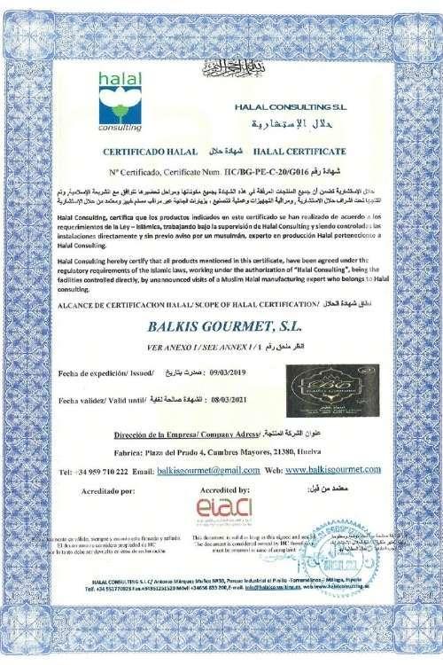 Certificat halal   Balkis Gourmet