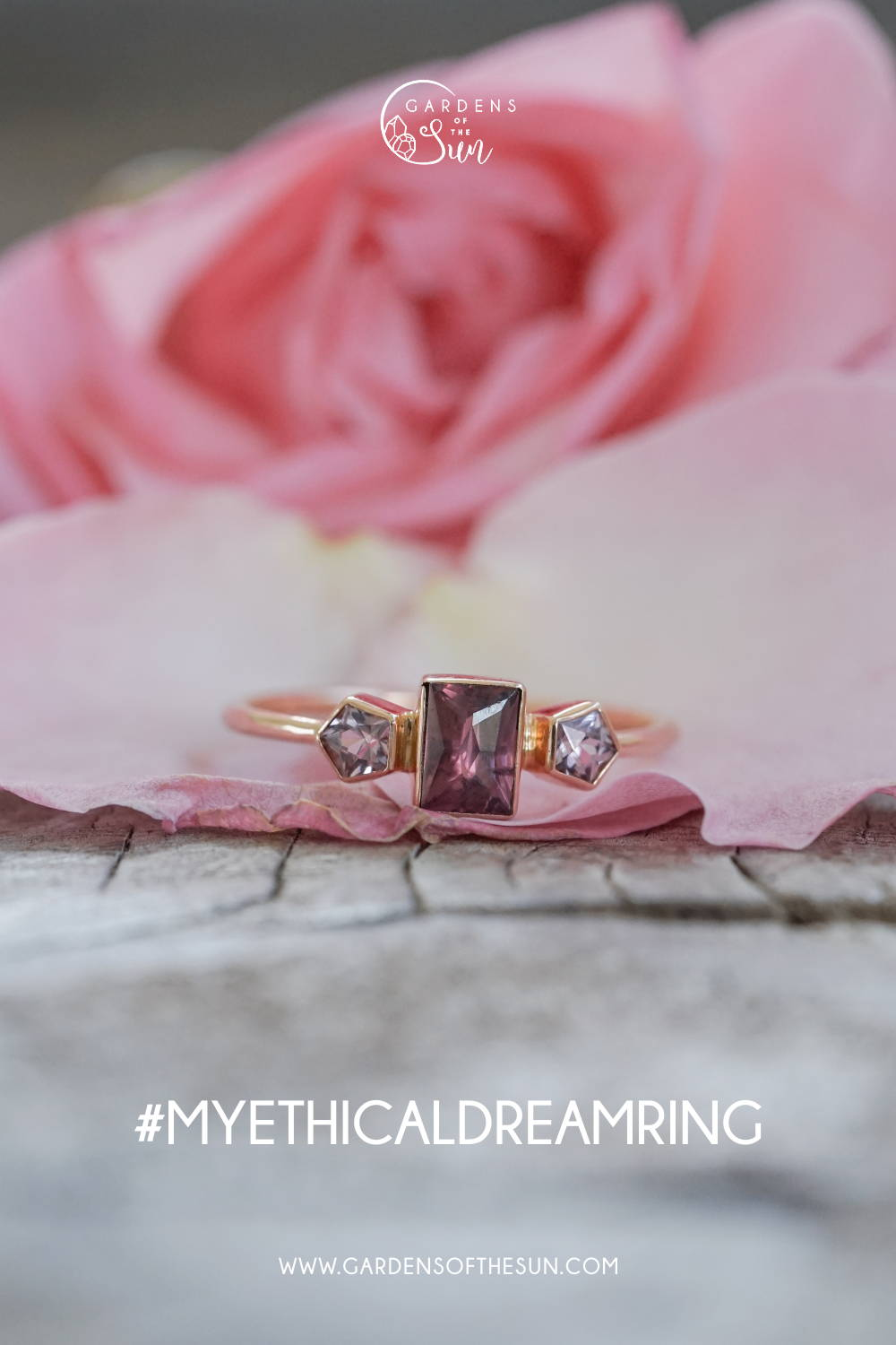 Custom garnet ring in eco gold