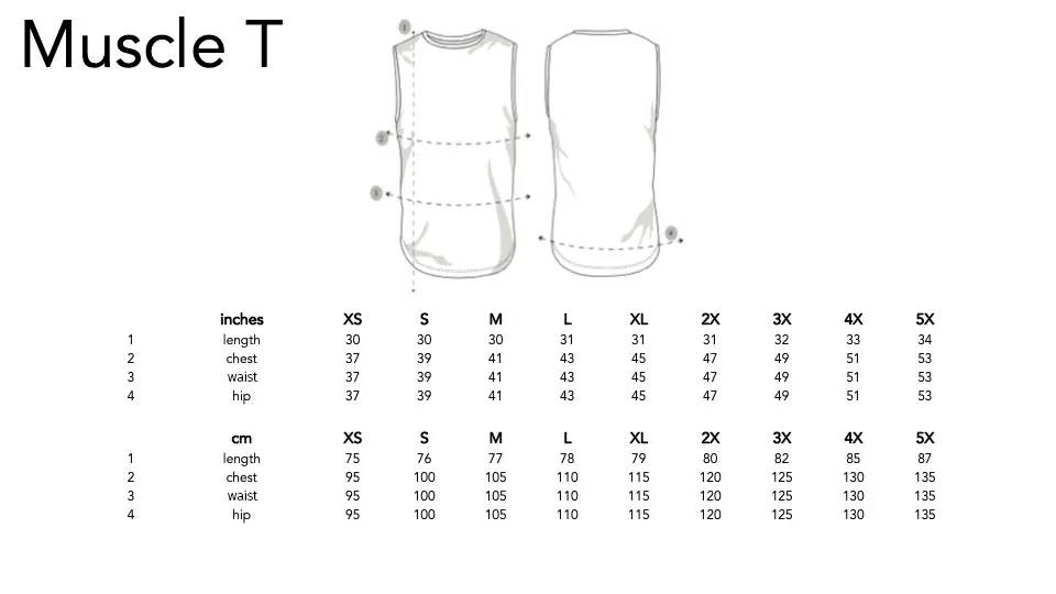Play Out unisex Muscle T Sizing Chart