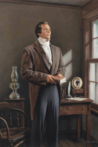 Joseph Smith holding a printed copy of The Book of Mormon: Another Testament of Jesus Christ.