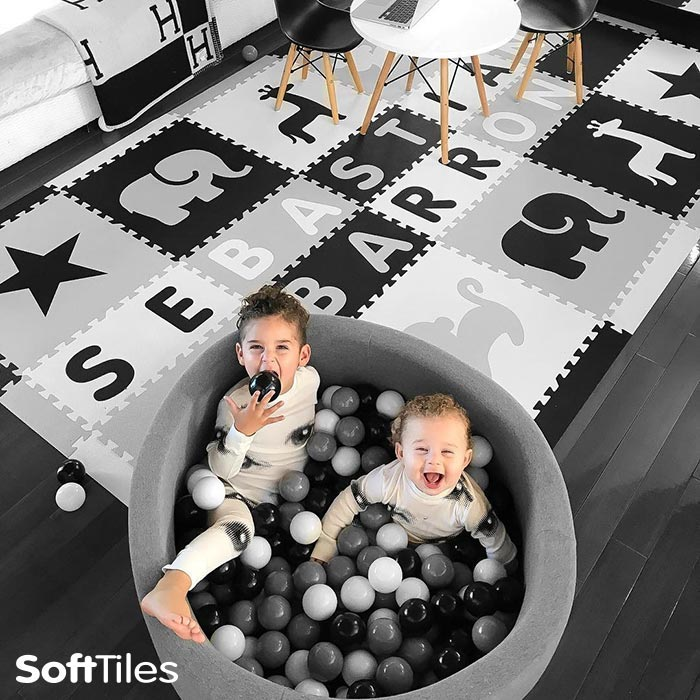 A designer SoftTiles Personalized Foam Play Mat