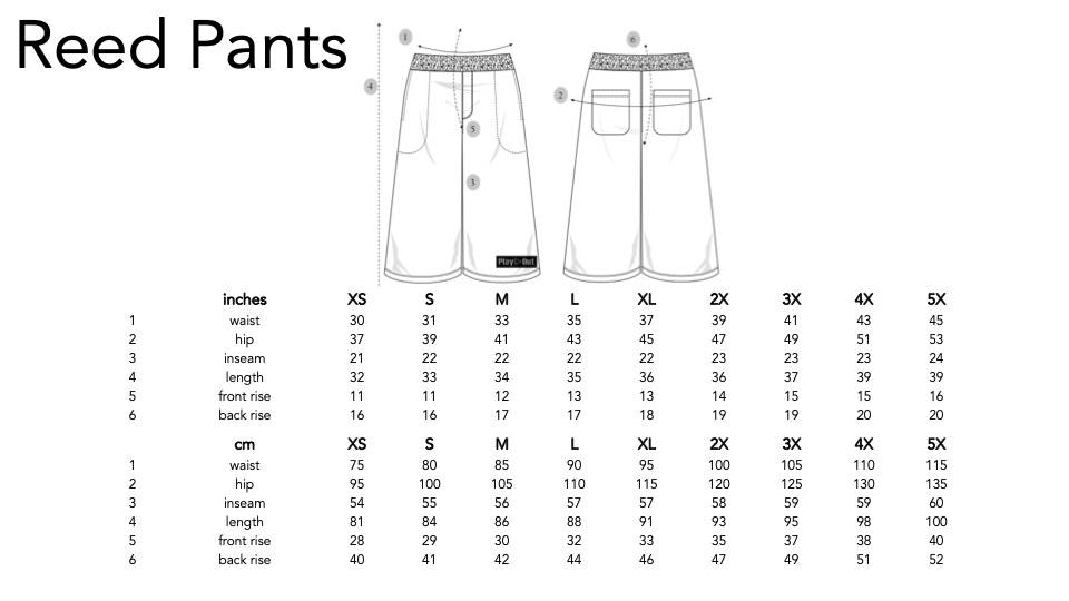 Play Out unisex Reed wide-leg pants sizing chart