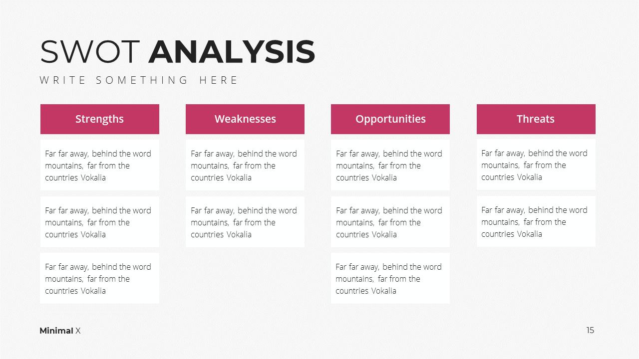 Minimal X Digital Marketing Proposal Presentation Template SWOT Analysis