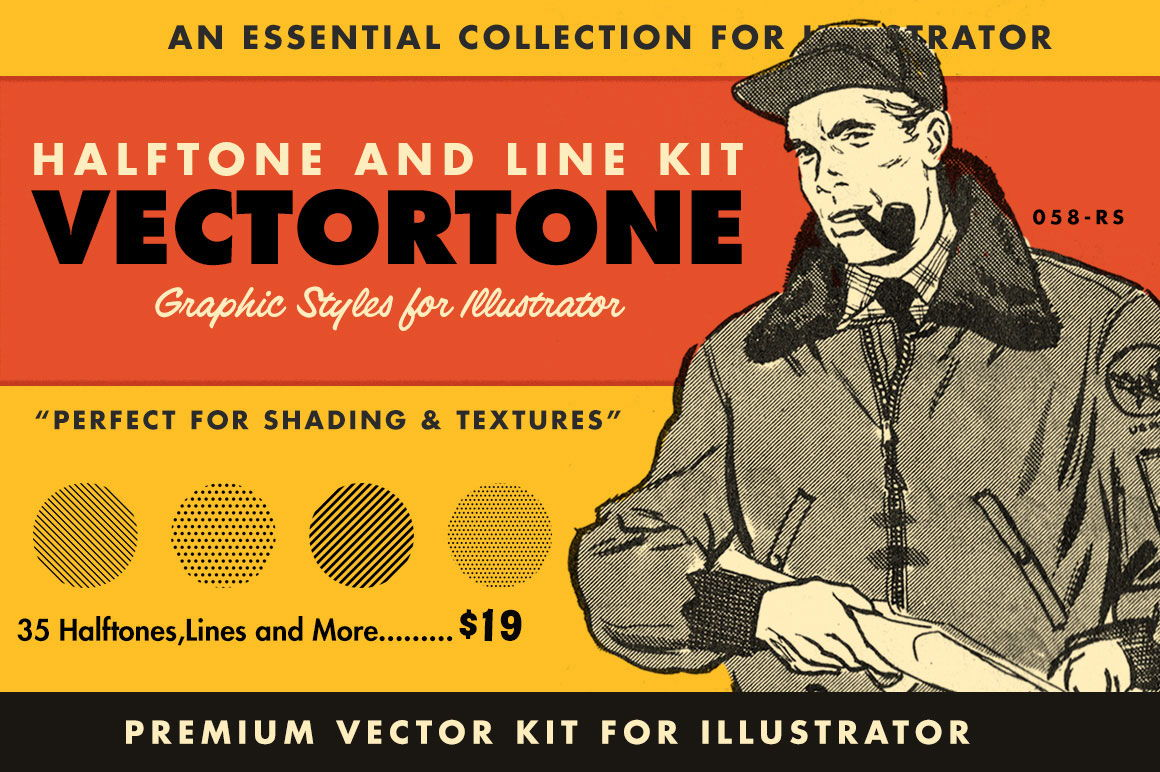 Retro Halftone Brushes for Illustrator