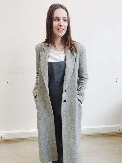 Пальто из шерстяной ткани в светло-серую елочку