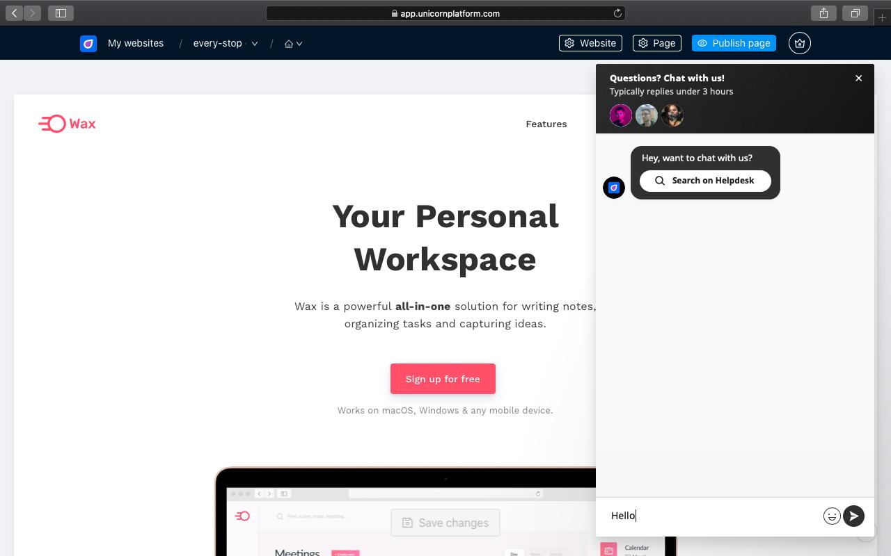Unicorn Platform editor screenshot