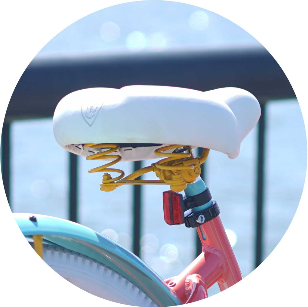 Custom Curated White Embossed Saddle with Yellow Hardware, Coral Frame, and Aqua Fender