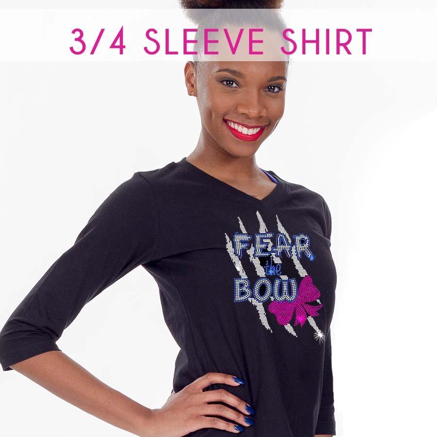 glitterstarz 34 sleeve quarter black tee shirt rhinestone bling custom teamwear