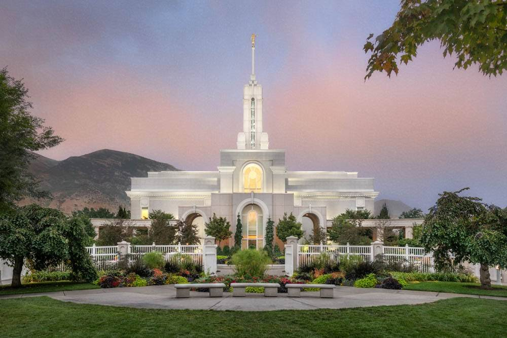 LDS art photo of Mt Timpanogos Temple and grounds from the front.