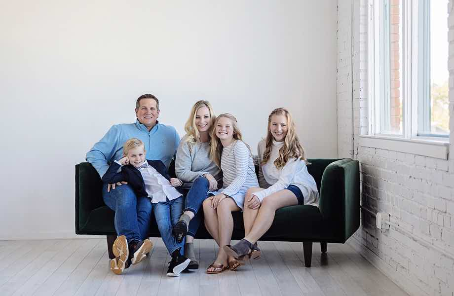 Franchise Owners of Primrose School Mandi & Kevin McCombs with their family