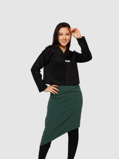 """Зеленая ассиметричная юбка """"Edge"""" с надписью """"Люблю"""""""