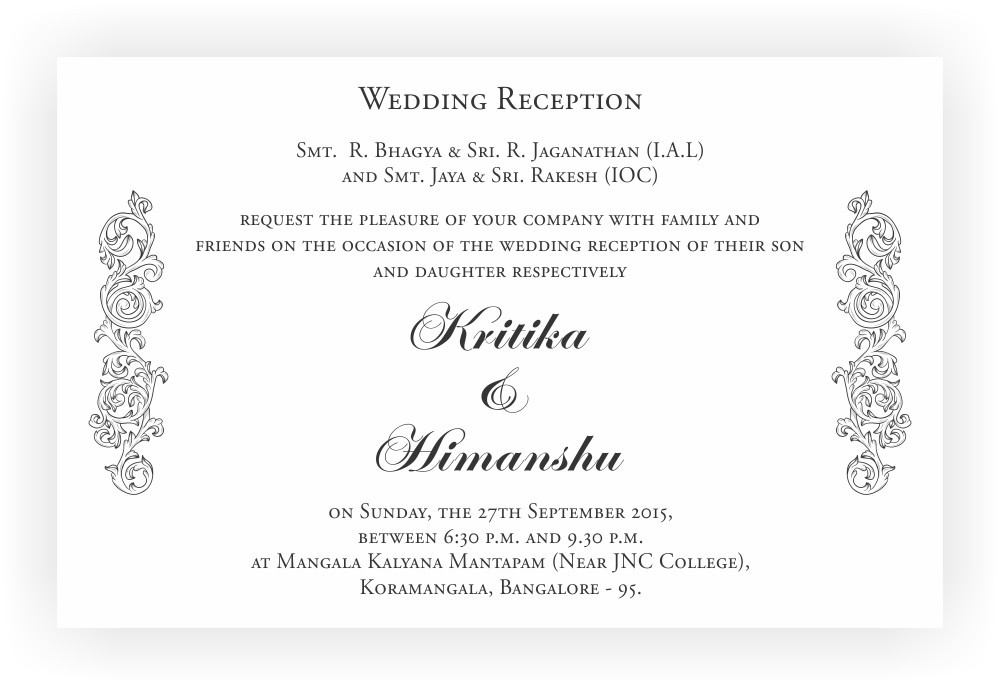 Reception Ceremony Invitation Wordings